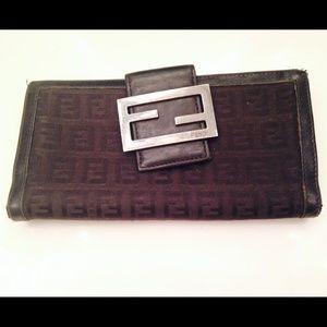 Authentic Fendi Zucchino Checkbook Wallet